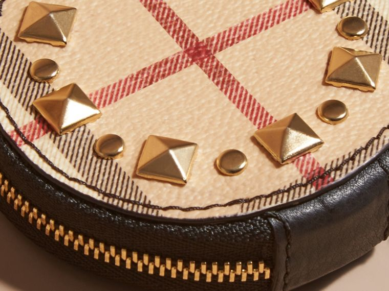 Studded Haymarket Check and Leather Coin Case - cell image 1