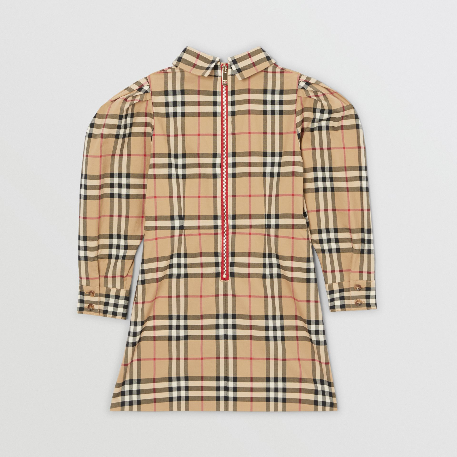 Puff-sleeve Vintage Check Cotton Dress in Archive Beige | Burberry United Kingdom - gallery image 3