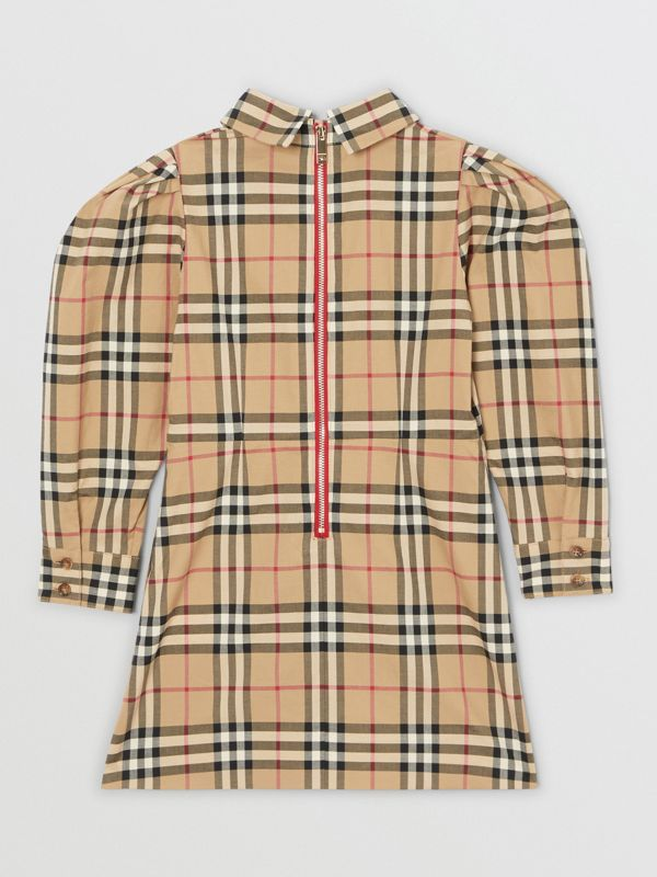 Puff-sleeve Vintage Check Cotton Dress in Archive Beige | Burberry United Kingdom - cell image 3