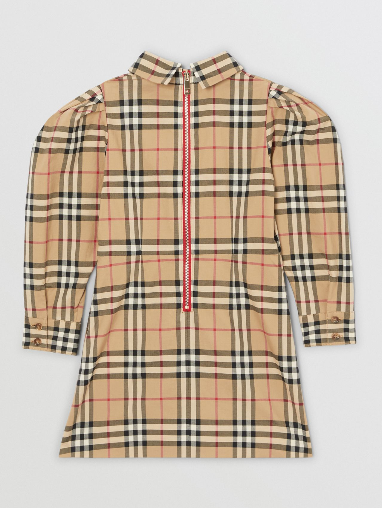 Puff-sleeve Vintage Check Cotton Dress in Archive Beige