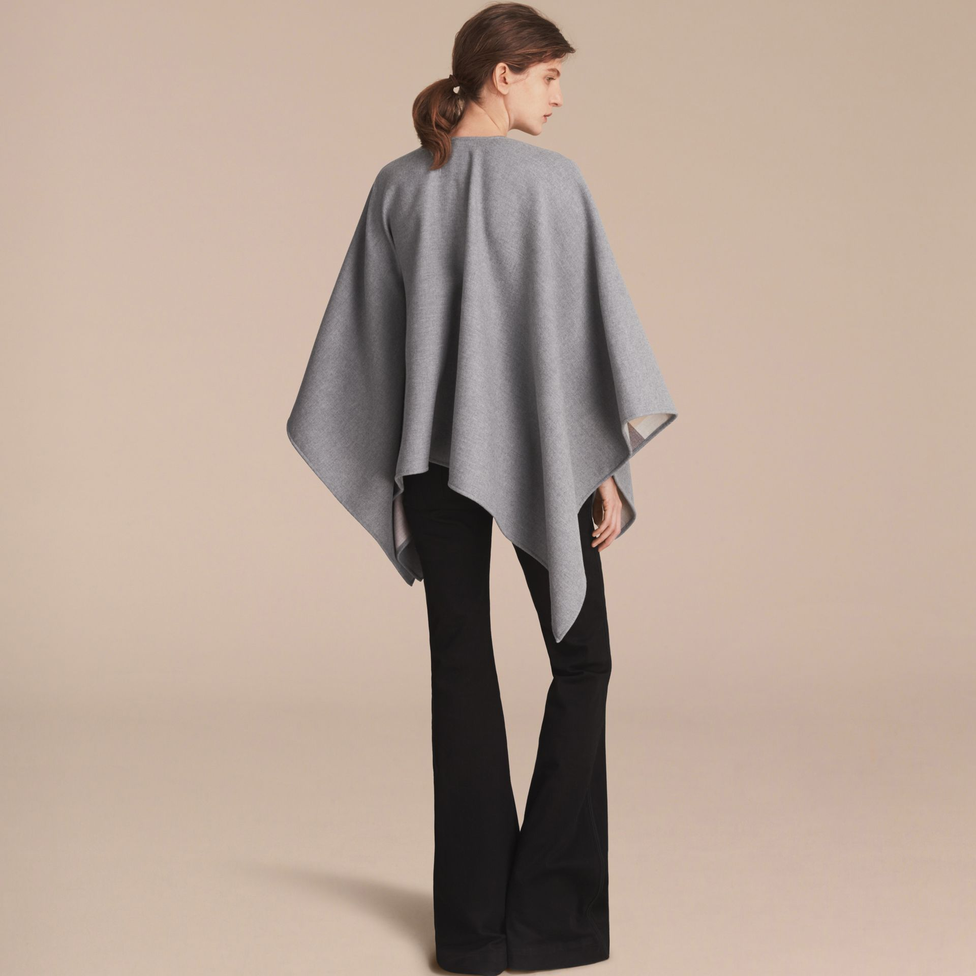 Merino Wool Poncho in Light Grey - Women | Burberry - gallery image 3