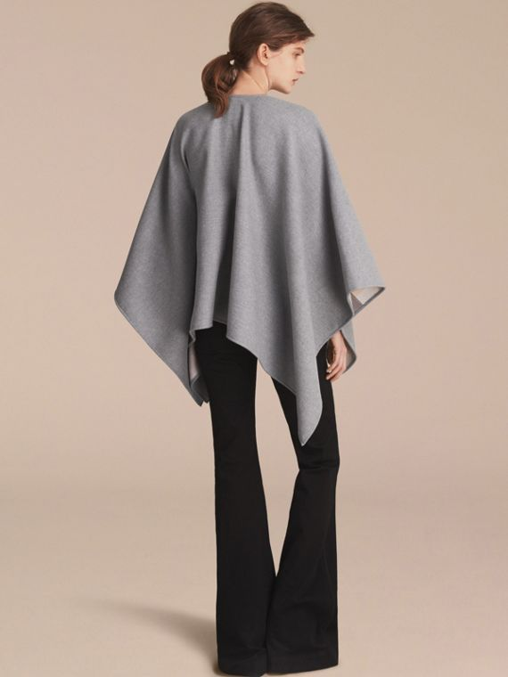Merino Wool Poncho in Light Grey - Women | Burberry - cell image 2