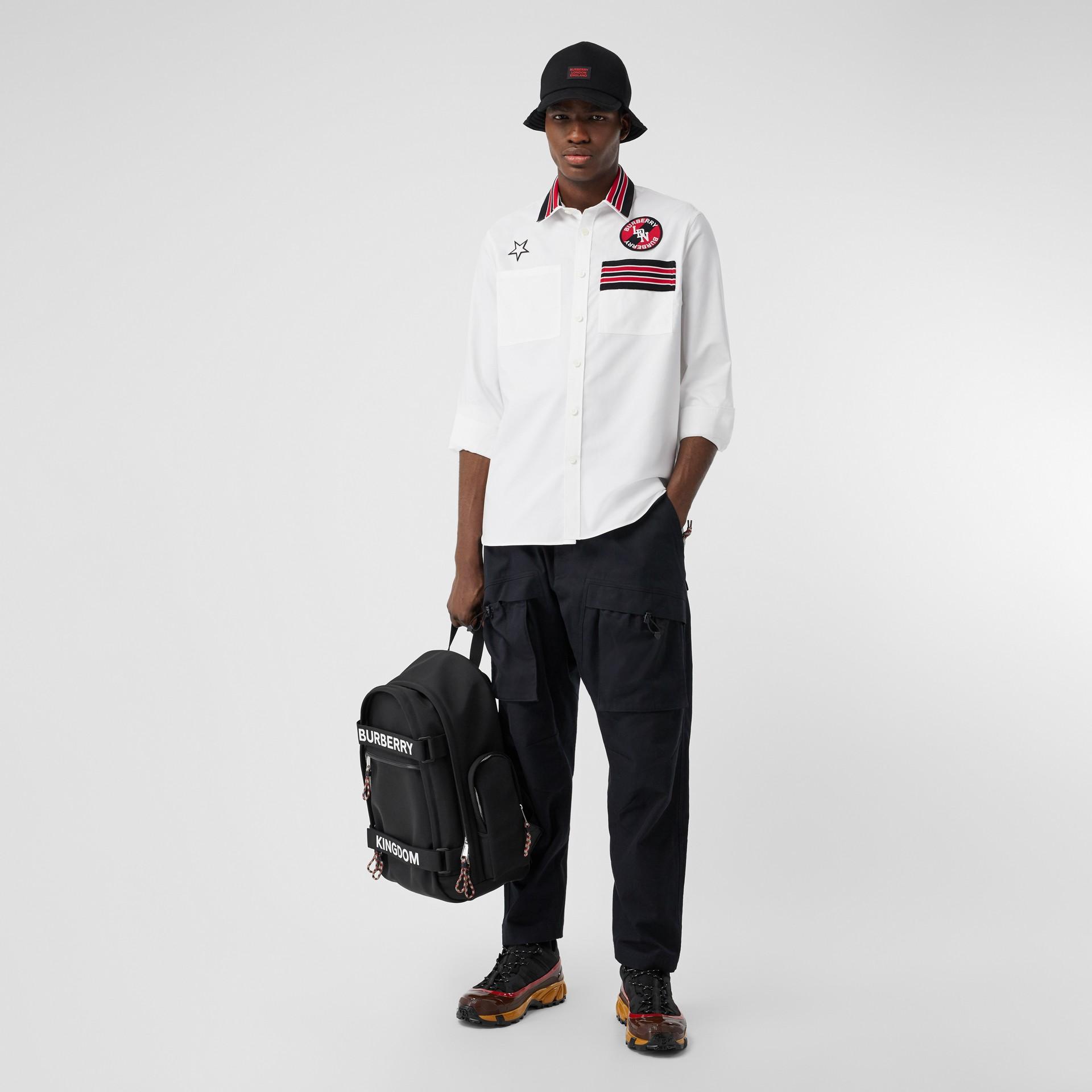 Camicia Oxford oversize in cotone con logo (Bianco) - Uomo | Burberry - immagine della galleria 0