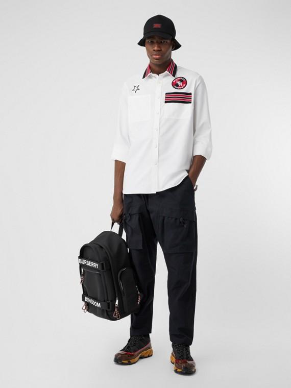 ロゴグラフィック コットン オックスフォード オーバーサイズシャツ (ホワイト)