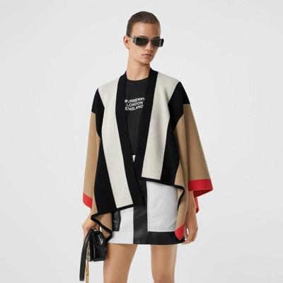 Mantella in lana e cashmere a righe (Beige Archivio) Donna | Burberry