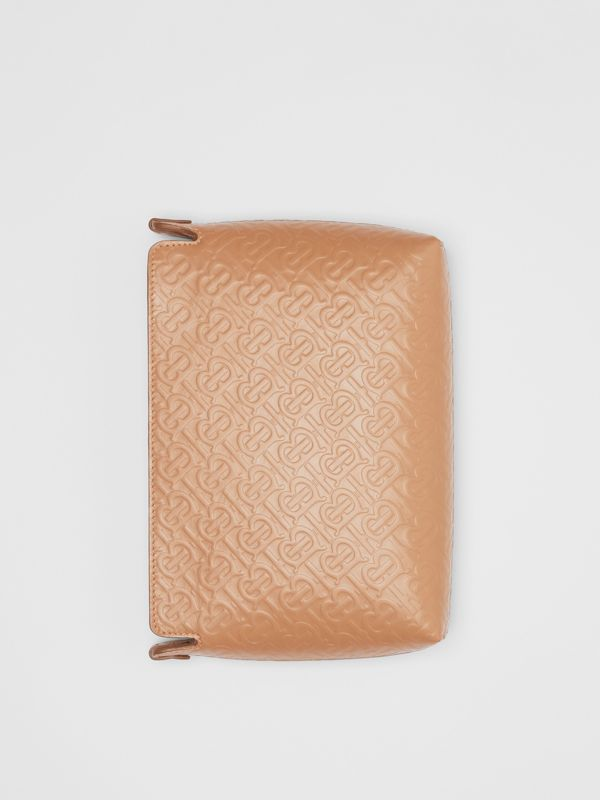 Medium Monogram Leather Clutch in Light Camel - Women | Burberry - cell image 3