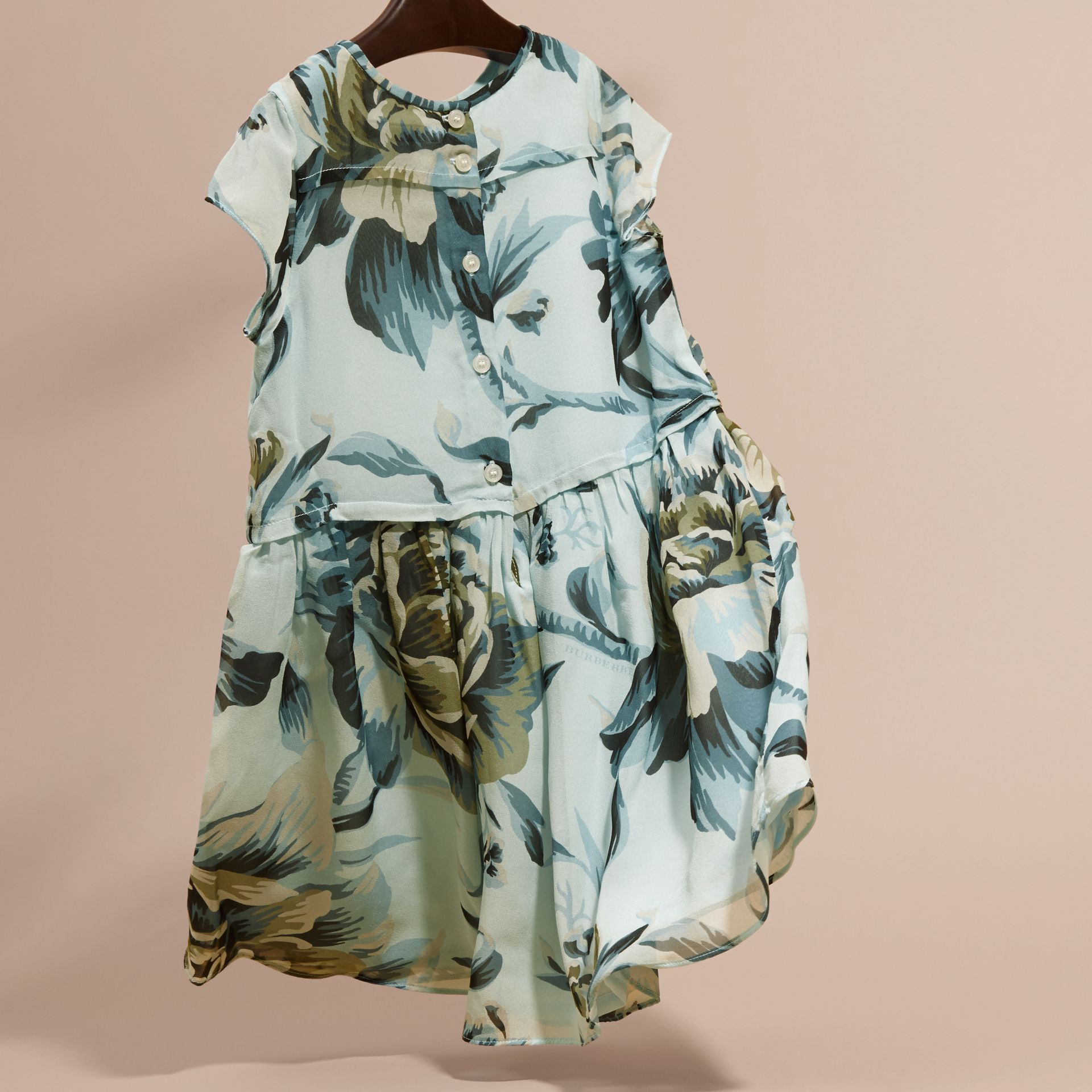 Peony Rose Print Silk Dress in Celadon Blue - gallery image 4