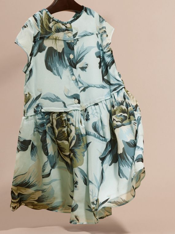 Peony Rose Print Silk Dress in Celadon Blue - cell image 3