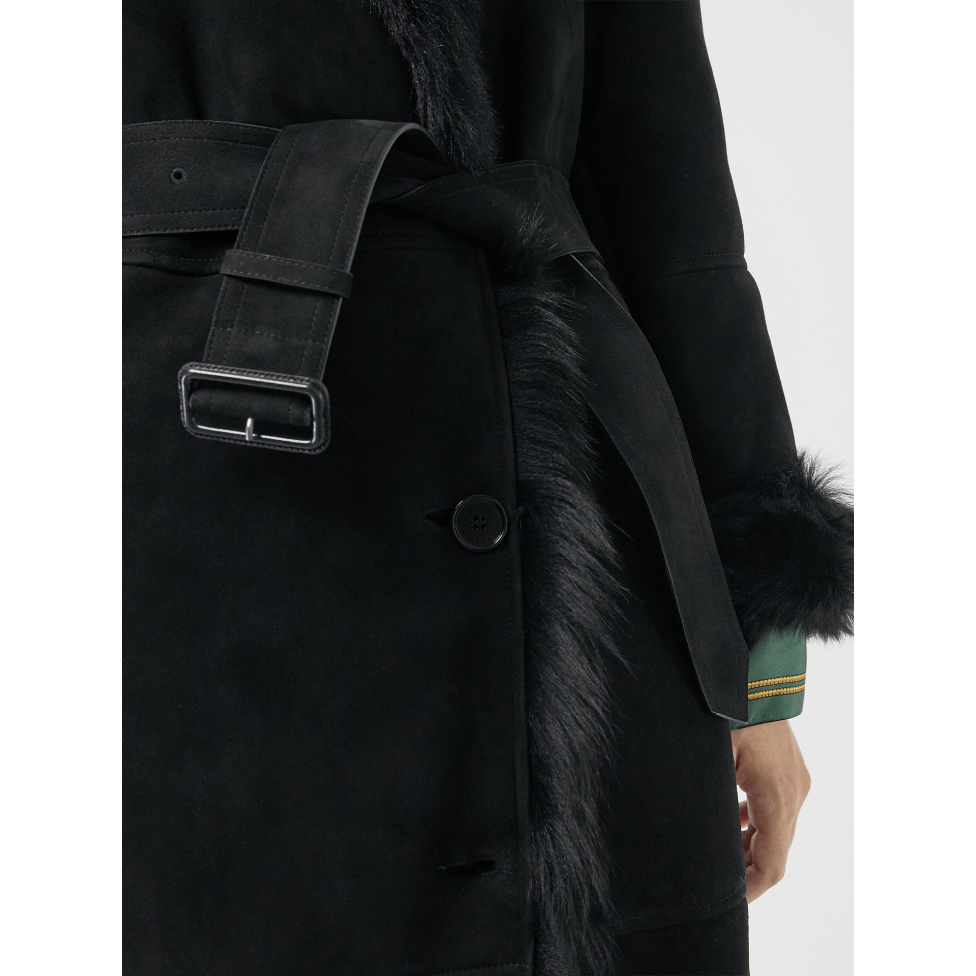 Shearling Car Coat in Black - Women | Burberry - gallery image 4