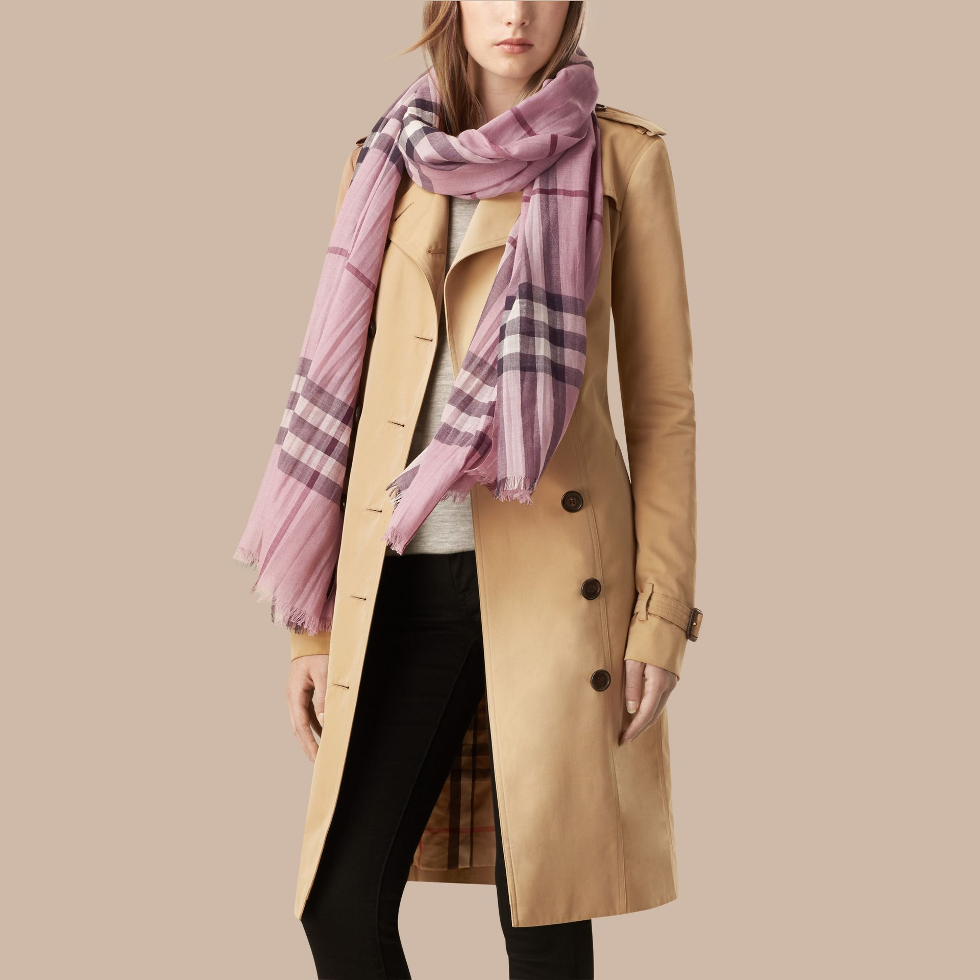 Lightweight Check Wool and Silk Scarf in Pink Heather - gallery image 3