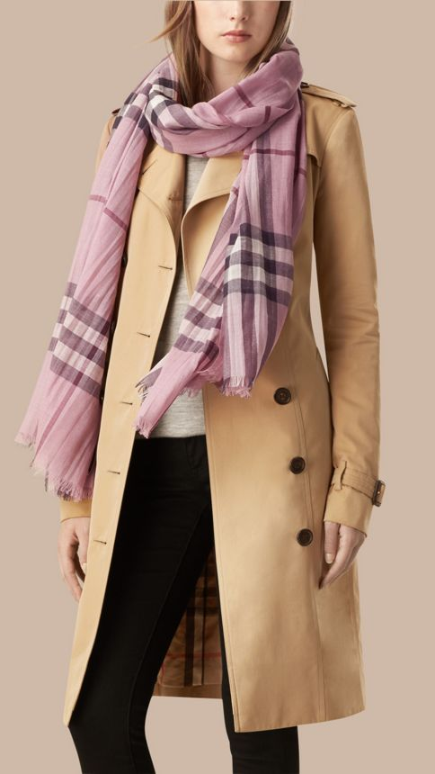 Pink heather check Lightweight Check Wool and Silk Scarf Pink Heather - Image 3