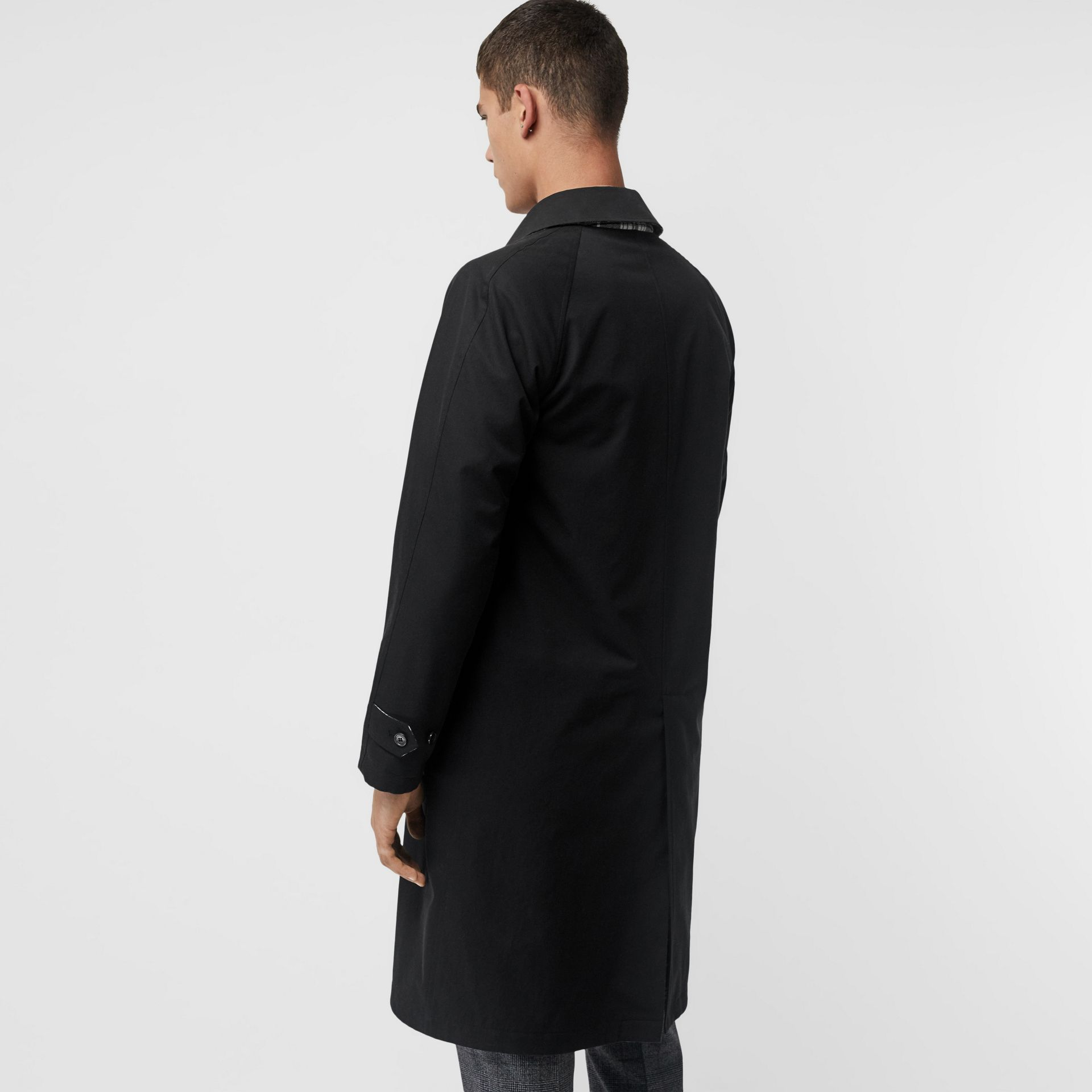 Reversible Wool Cashmere and Cotton Car Coat in Black - Men | Burberry Australia - gallery image 2