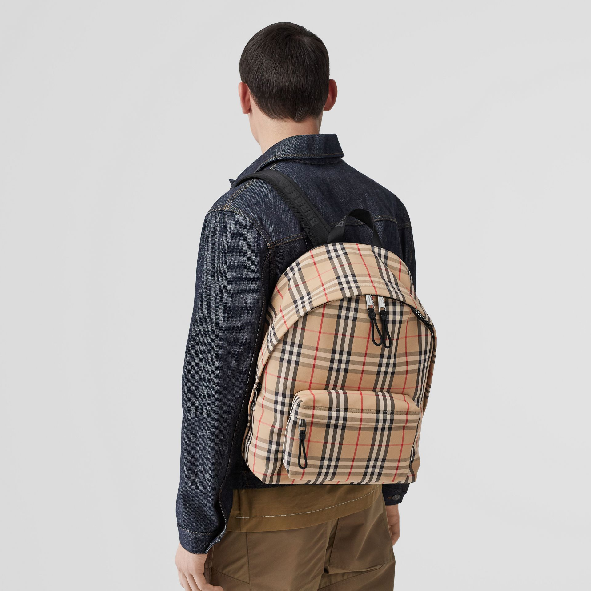 Vintage Check Nylon Backpack in Archive Beige | Burberry Canada - gallery image 2