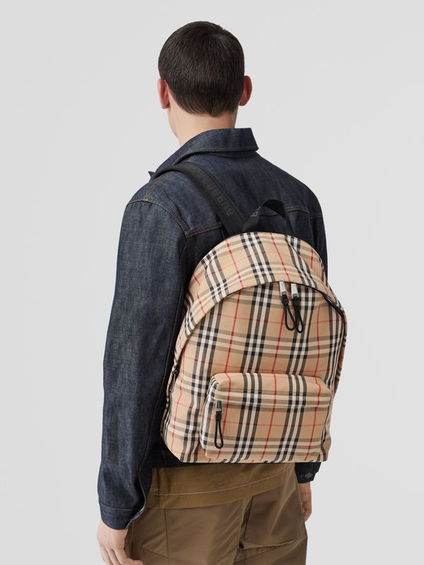 Vintage Check Nylon Backpack in Archive Beige | Burberry - cell image 2