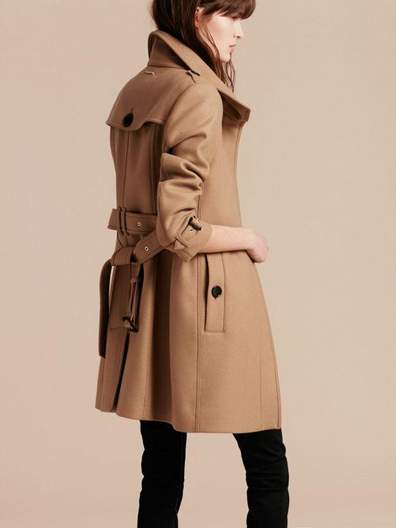 Technical Wool Cashmere Funnel Neck Coat in Camel - cell image 2