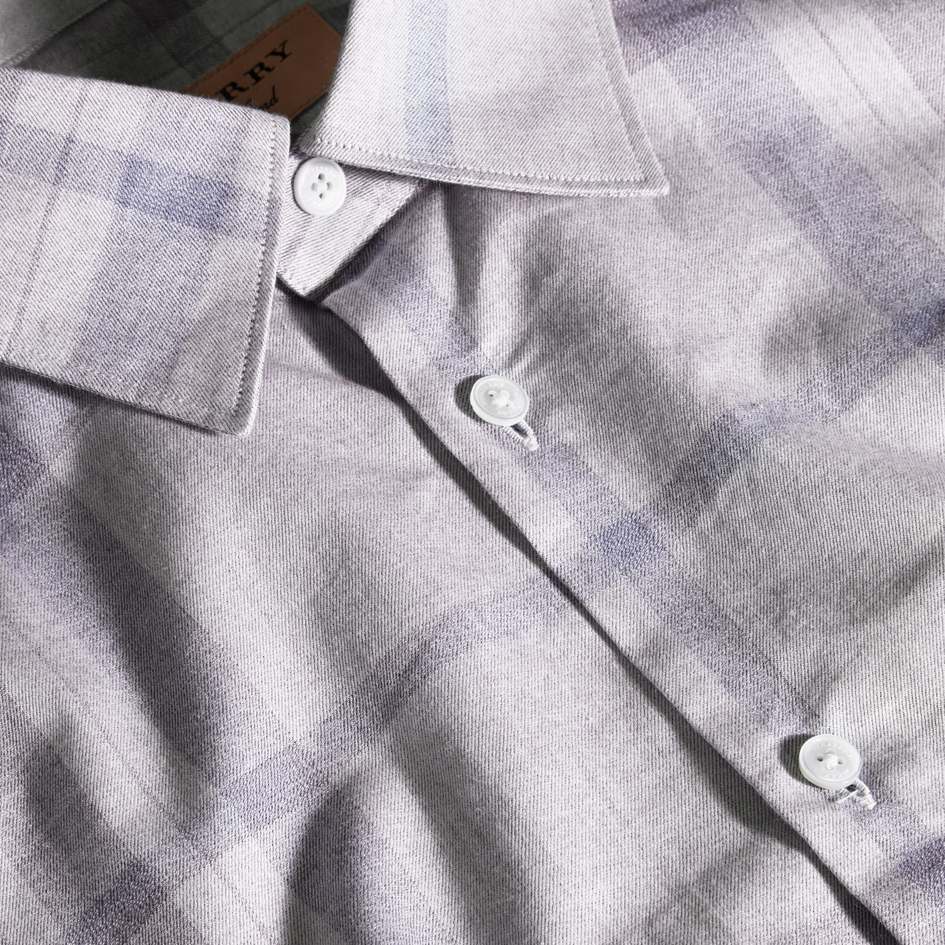 Dusty blue Check Cotton Flannel Shirt Dusty Blue - gallery image 2
