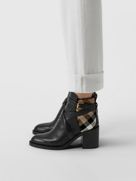 Bottines en cuir et coton House check (Noir) - Femme | Burberry - cell image 1
