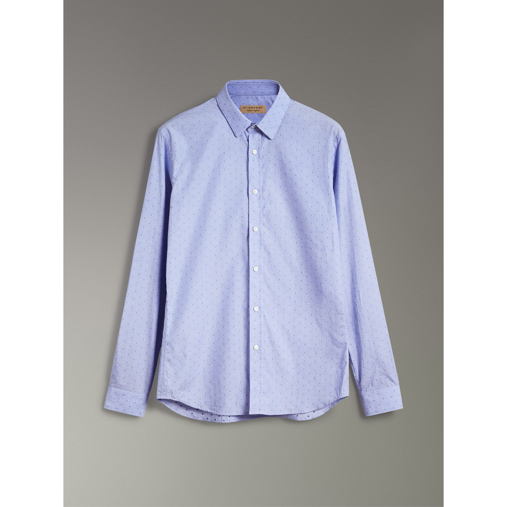 Slim Fit Fil Coupé Cotton Shirt in Light Blue - Men | Burberry - gallery image 3