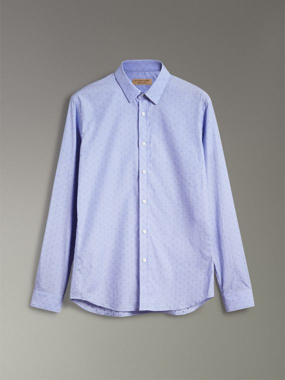 Slim Fit Fil Coupé Cotton Shirt in Light Blue - Men | Burberry - cell image 3