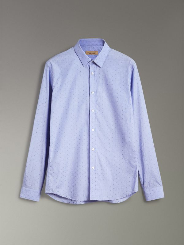 Slim Fit Fil Coupé Cotton Shirt in Light Blue - Men | Burberry Australia - cell image 3