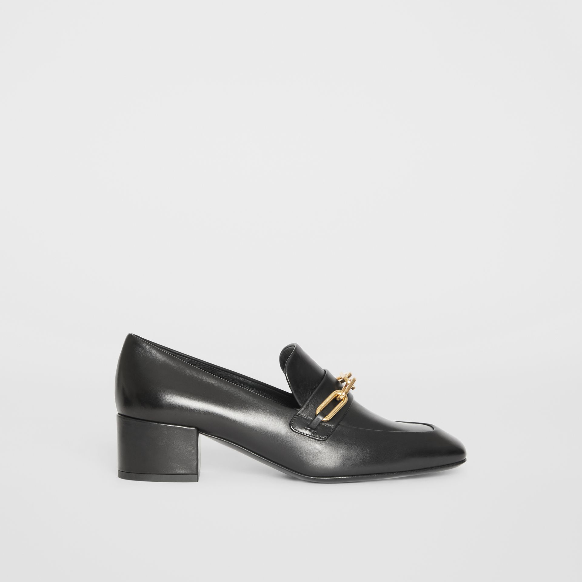 Link Detail Leather Block-heel Loafers in Black - Women | Burberry - gallery image 5