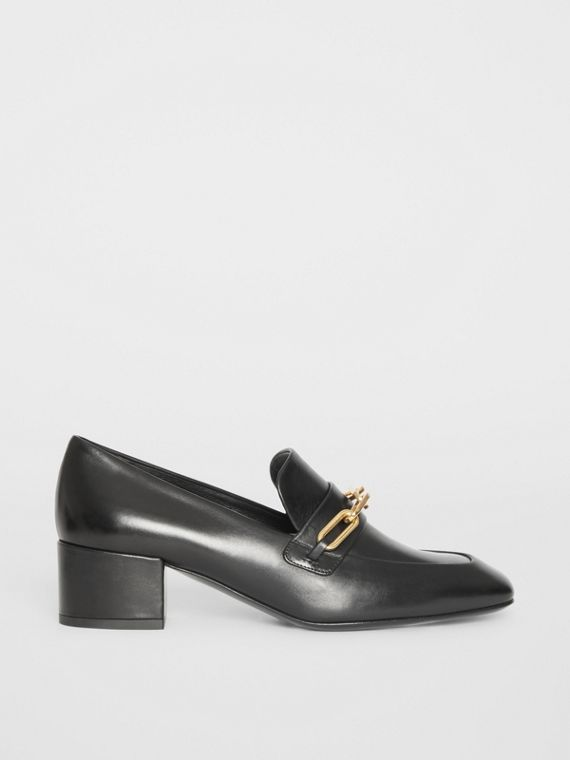 Link Detail Leather Block-heel Loafers in Black