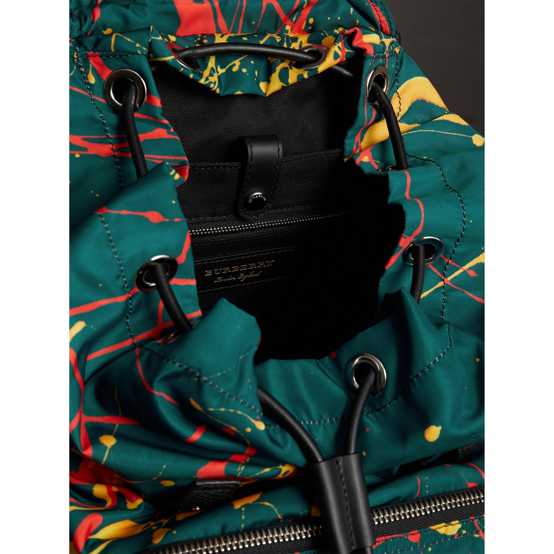 The Large Rucksack in Splash Print in Dark Teal - Men | Burberry Australia - gallery image 4