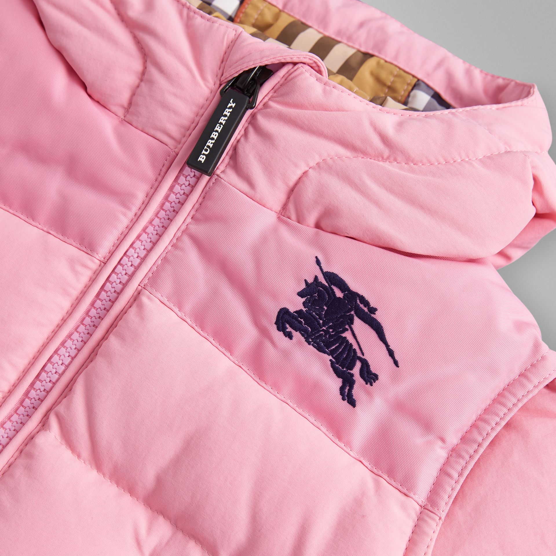 Down-filled Hooded Puffer Jacket in Ice Pink - Children | Burberry United Kingdom - gallery image 1