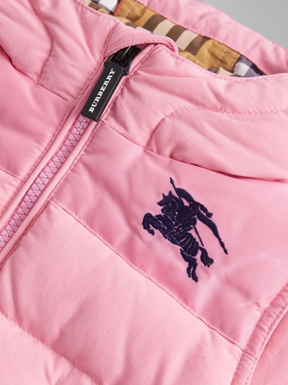 Down-filled Hooded Puffer Jacket in Ice Pink - Children | Burberry Singapore - cell image 1