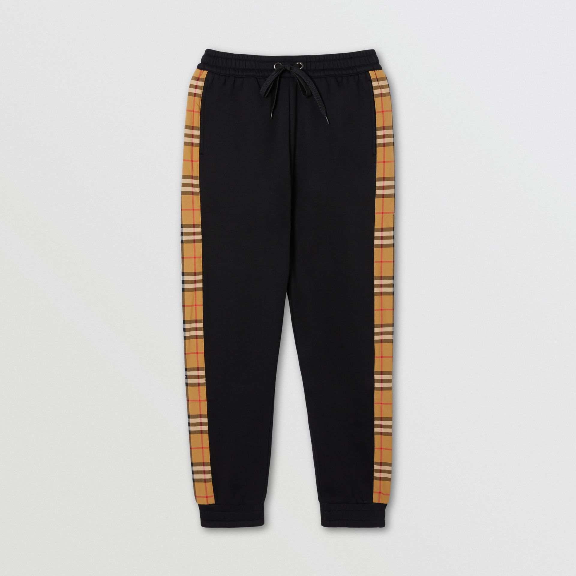 Vintage Check Panel Jersey Trackpants in Black - Women | Burberry United Kingdom - gallery image 0