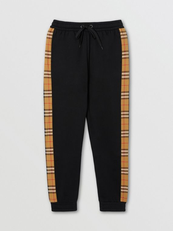 Vintage Check Panel Jersey Trackpants in Black