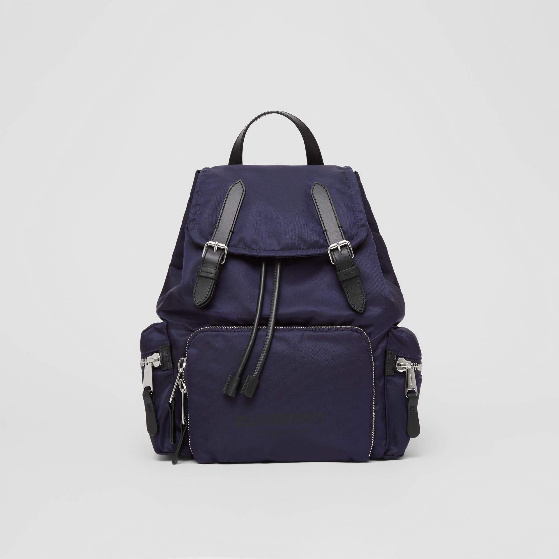 The Medium Rucksack in Logo Print ECONYL® in Navy - Women | Burberry Canada - gallery image 0
