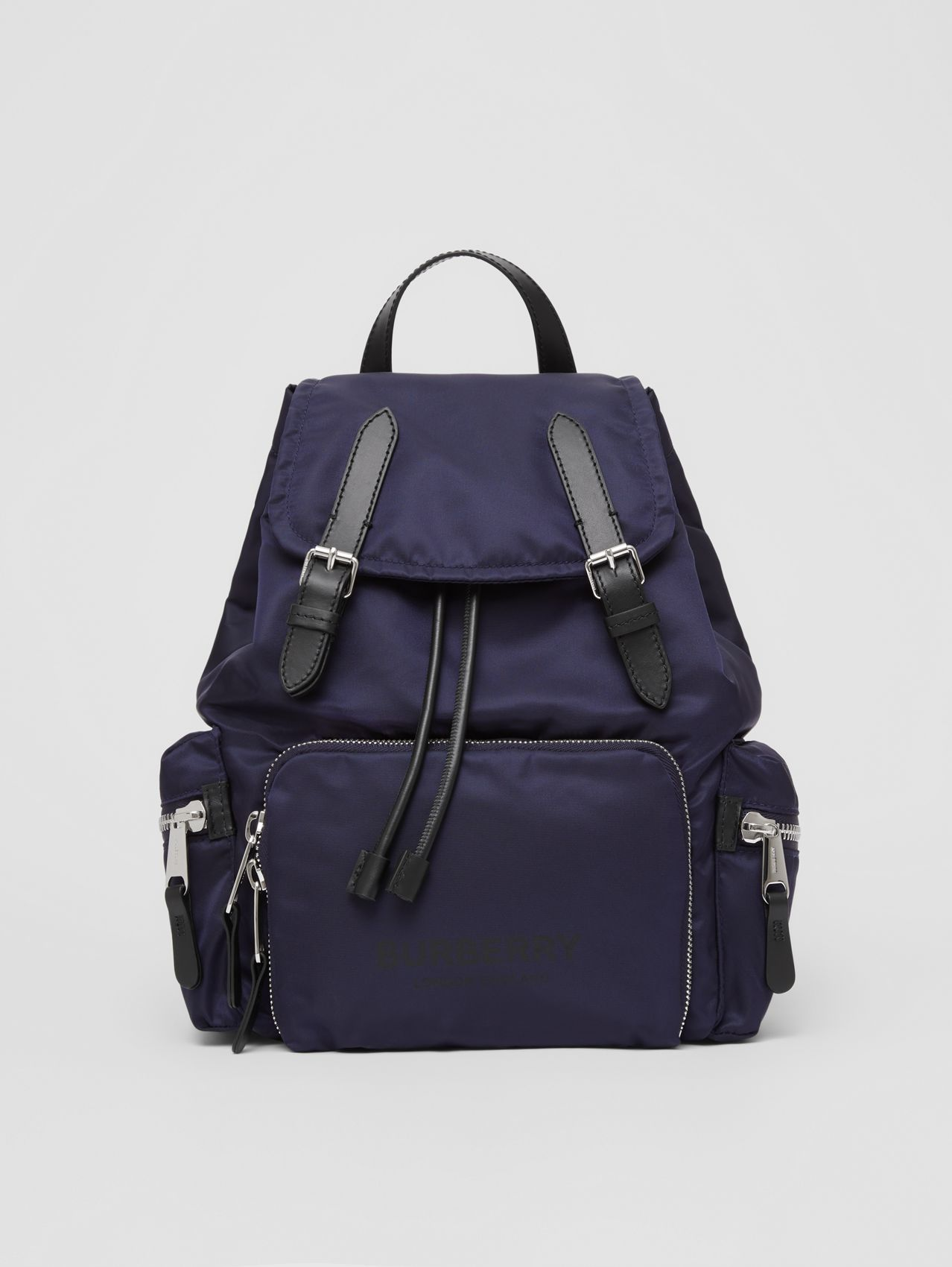 The Medium Rucksack in Logo Print ECONYL® (Navy)