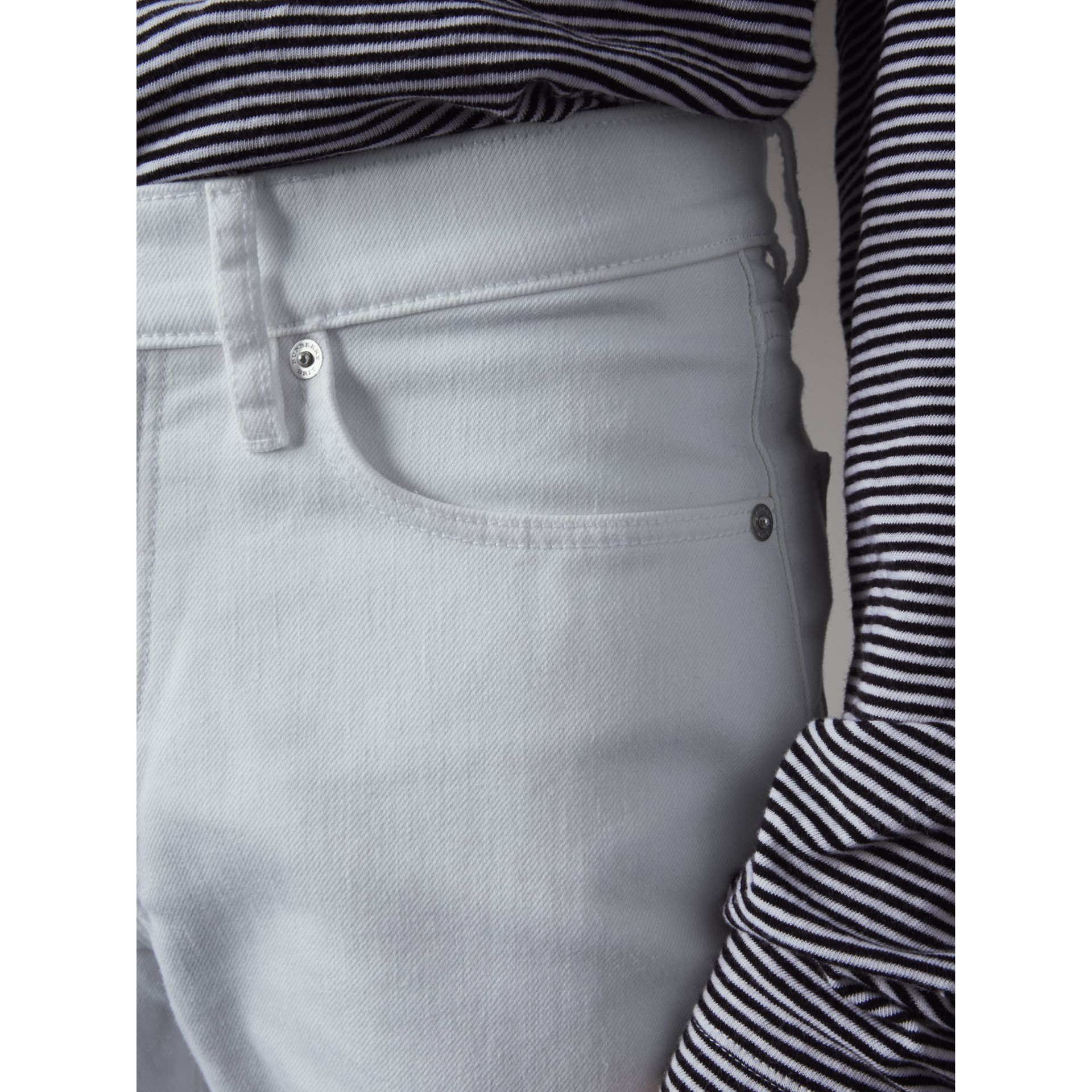 Slim Fit Stretch Japanese Denim Jeans in White - Men | Burberry United States - gallery image 1