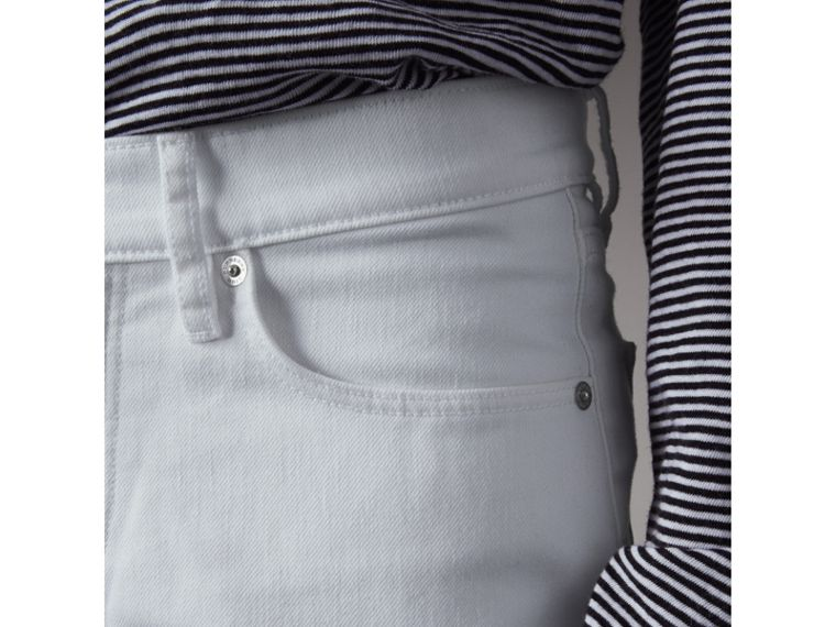 Slim Fit Stretch Japanese Denim Jeans in White - Men | Burberry United Kingdom - cell image 1