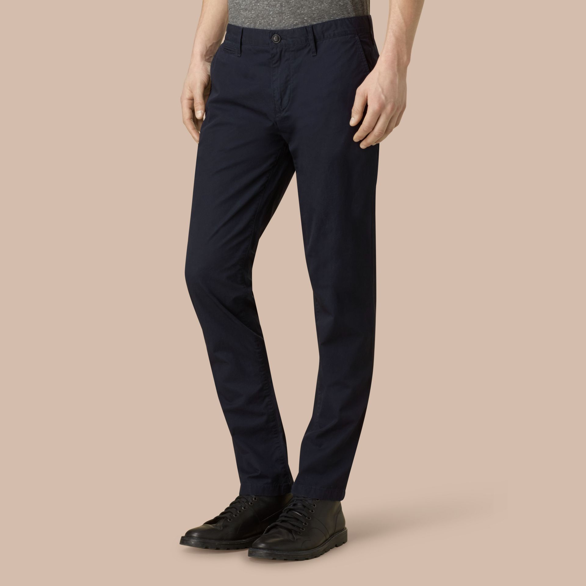 Slim Fit Cotton Chinos in Ink - Men | Burberry - gallery image 3