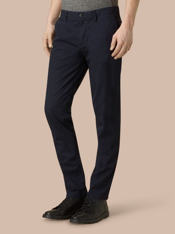 Slim Fit Cotton Chinos in Ink - Men | Burberry - cell image 2