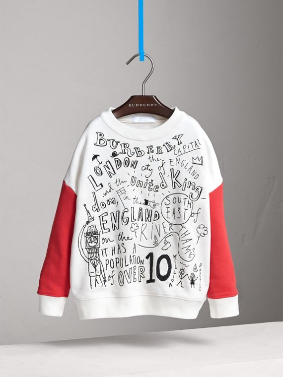 London Icons Print Cotton Jersey Sweatshirt in Natural White - Girl | Burberry - cell image 2