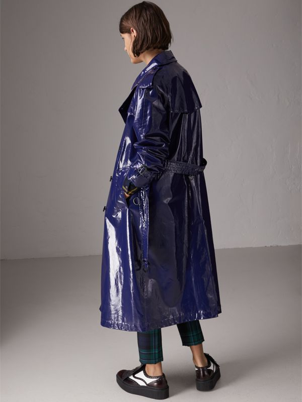 Laminated Cotton Trench Coat in Navy - Women | Burberry - cell image 2
