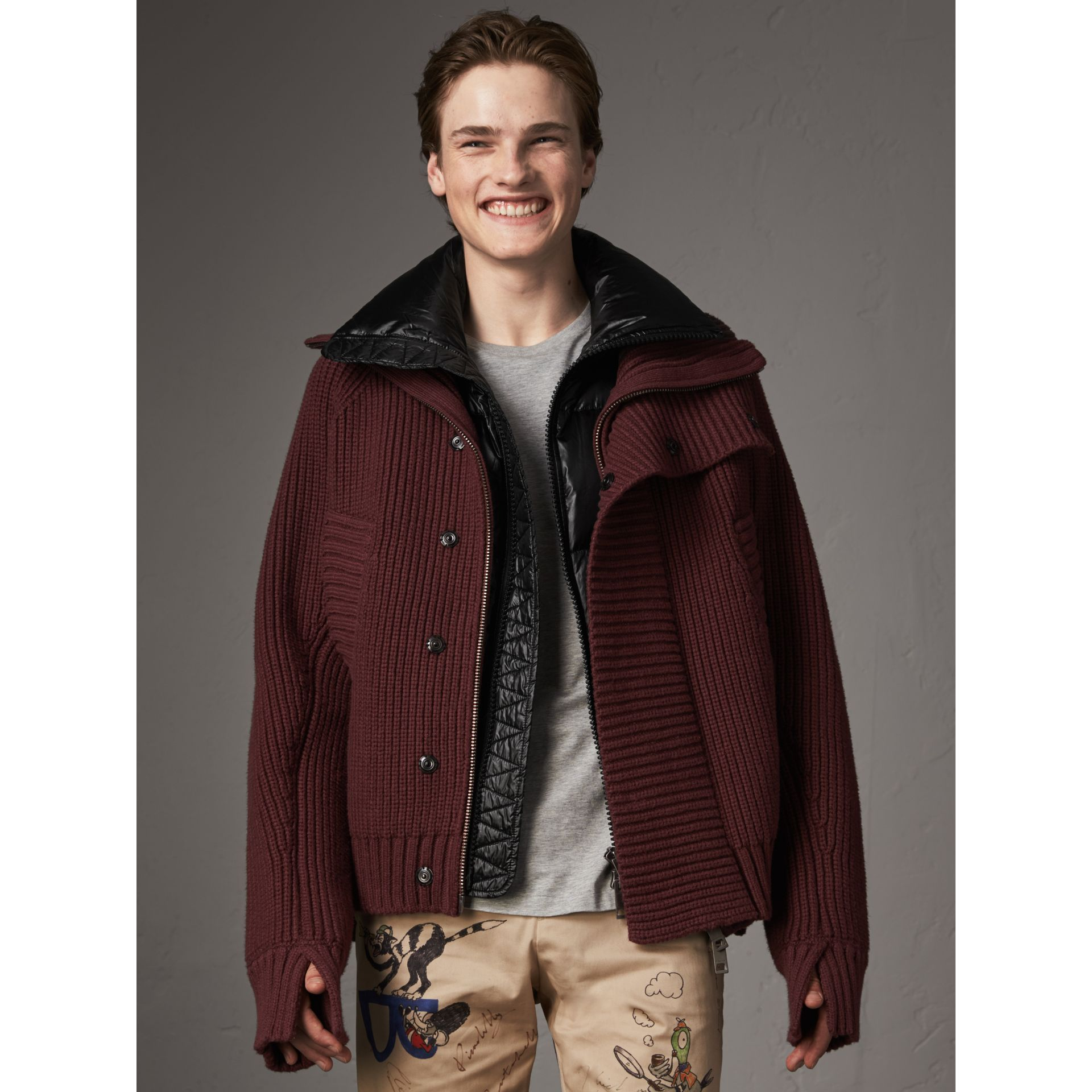 Rib Knit Cotton Blend Jacket with Down-filled Gilet in Mahogany Red - Men | Burberry - gallery image 0