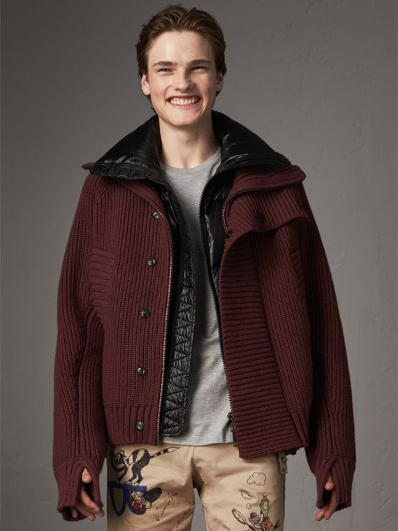 Rib Knit Cotton Blend Jacket with Down-filled Gilet in Mahogany Red