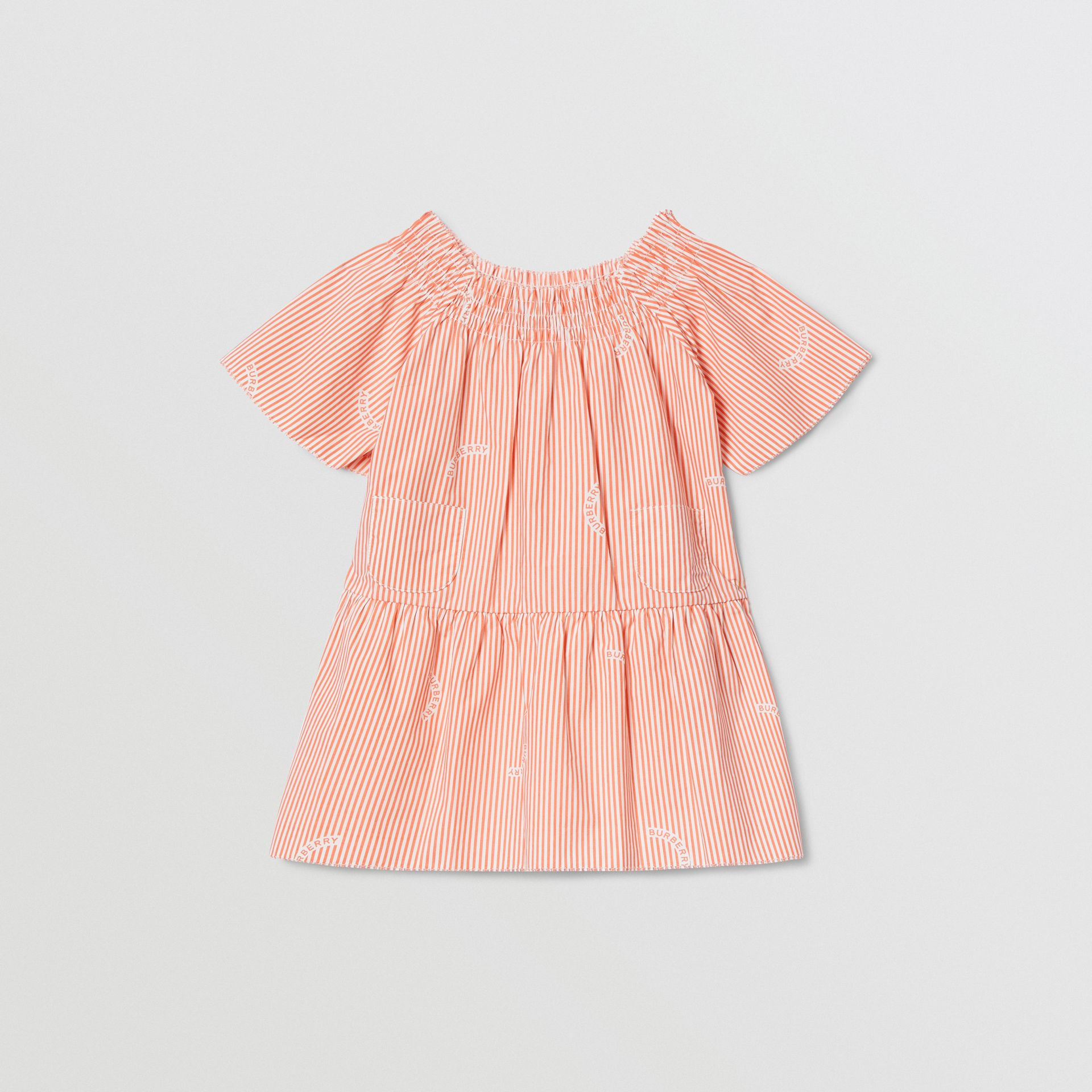 Ruched Neck Stripe Print Cotton Silk Dress in Coral Orange - Children | Burberry United Kingdom - gallery image 0