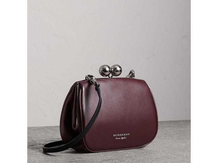 Small Leather Metal Frame Clutch Bag in Burgundy - Women | Burberry - cell image 4