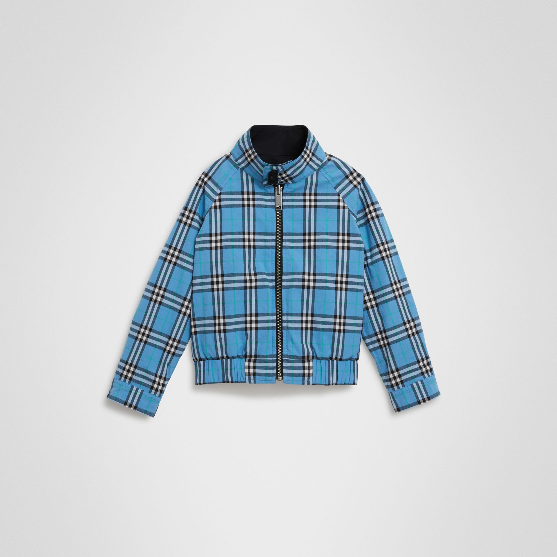 Reversible Check Cotton Harrington Jacket in Brilliant Navy - Children | Burberry - gallery image 3