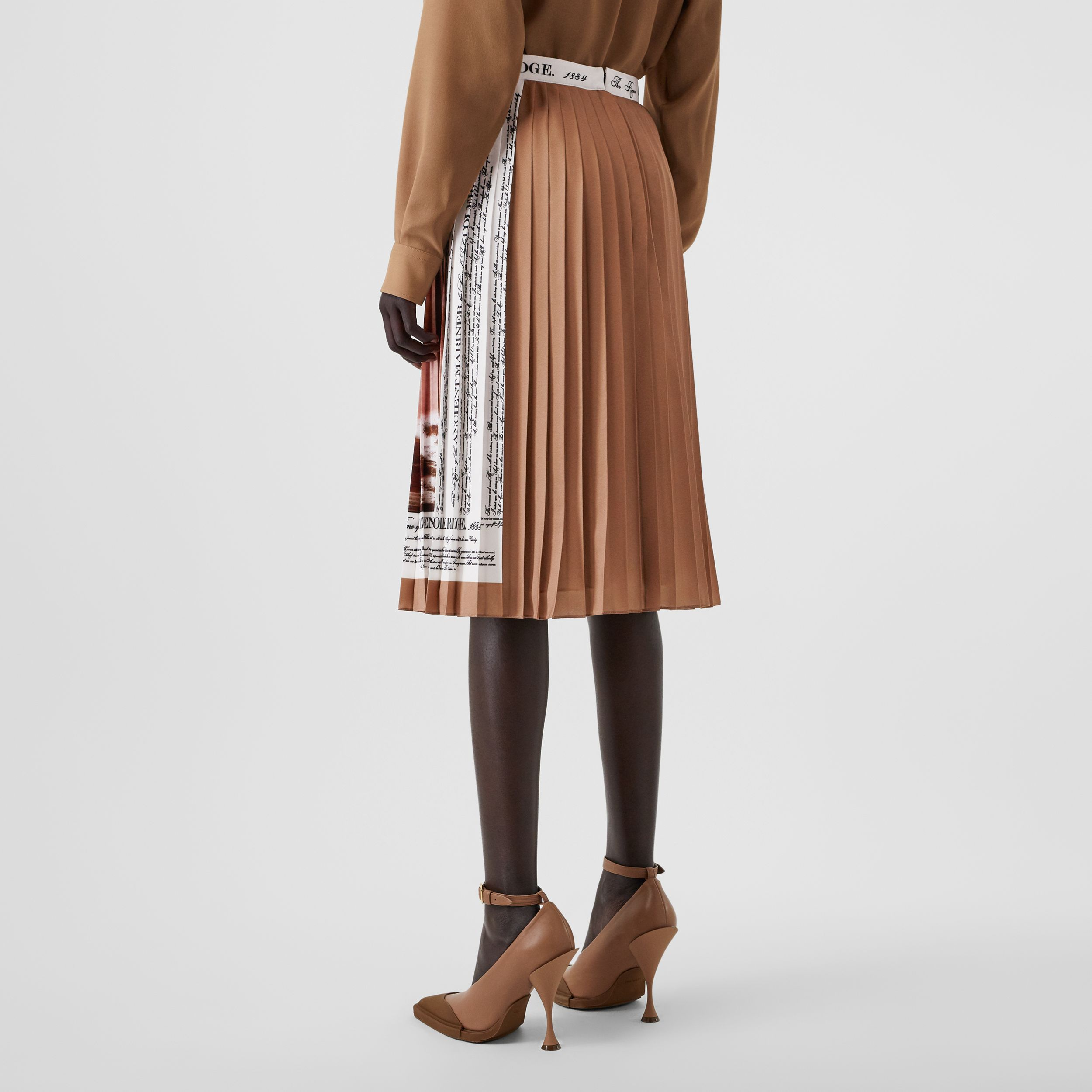 Mariner Print Pleated Cady Skirt in Bronze - Women | Burberry - 3