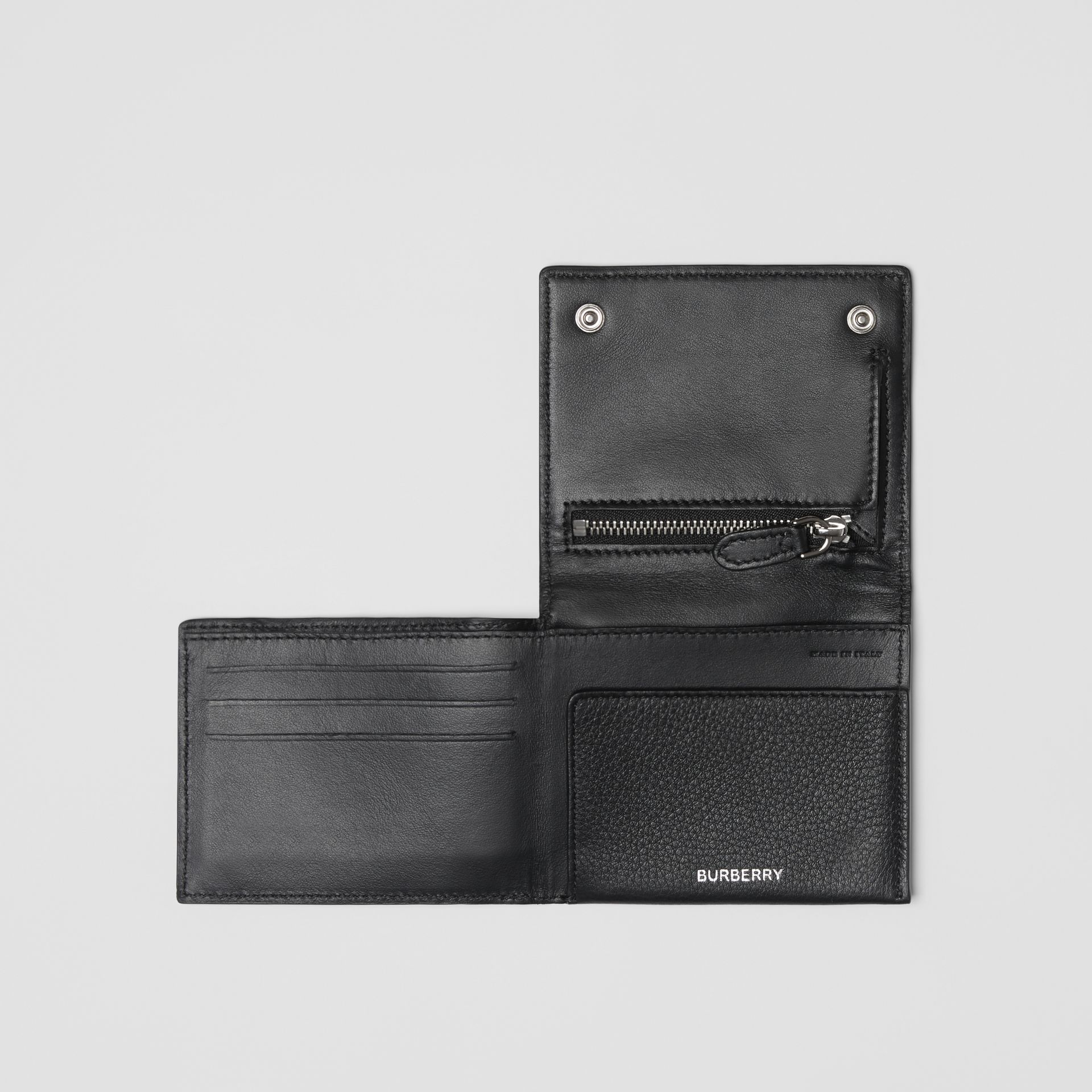 Grainy Leather Trifold Wallet in Black | Burberry - gallery image 2
