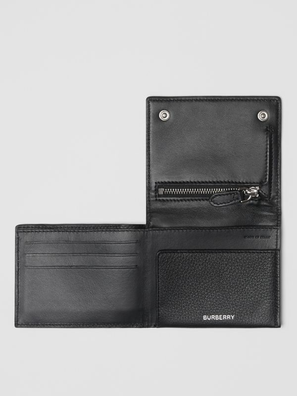 Grainy Leather Trifold Wallet in Black | Burberry Hong Kong S.A.R - cell image 2