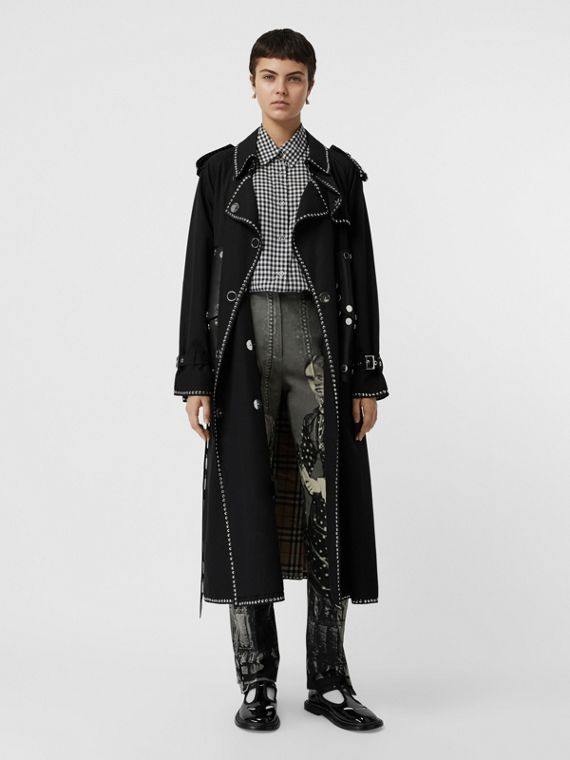 Lambskin Detail Studded Cotton Gabardine Trench Coat in Black