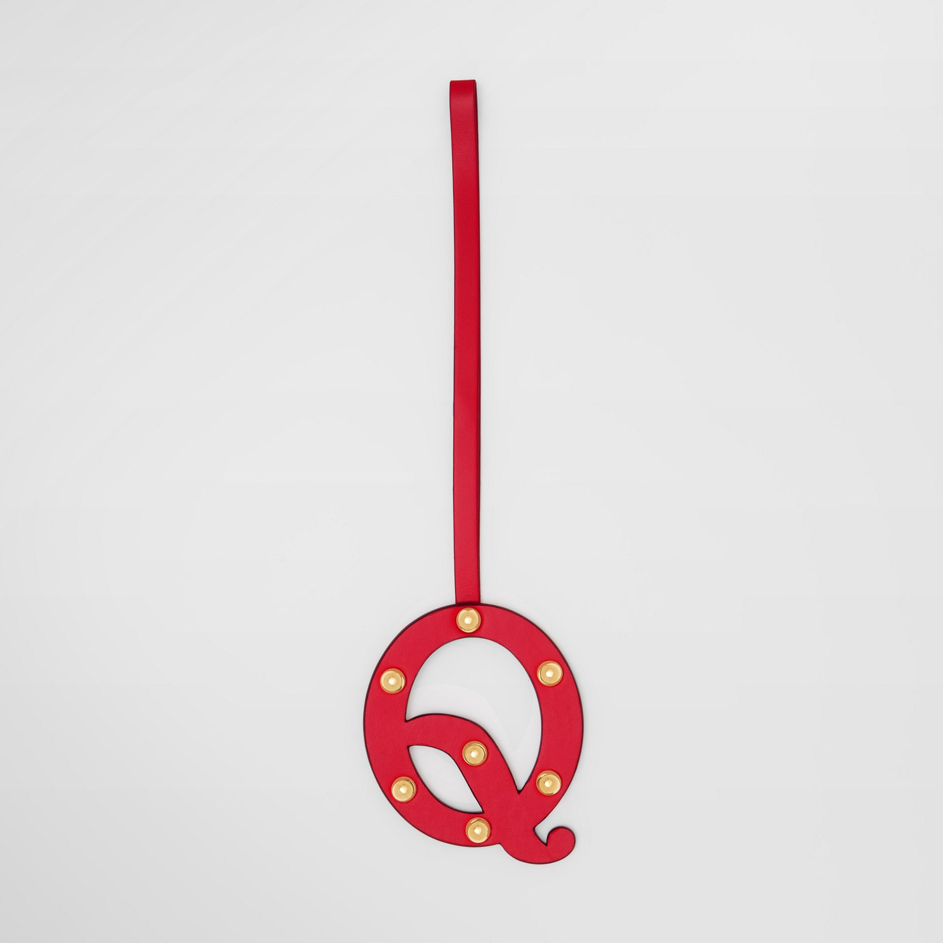 'Q' Studded Leather Alphabet Charm in Red/light Gold - Women | Burberry - gallery image 0