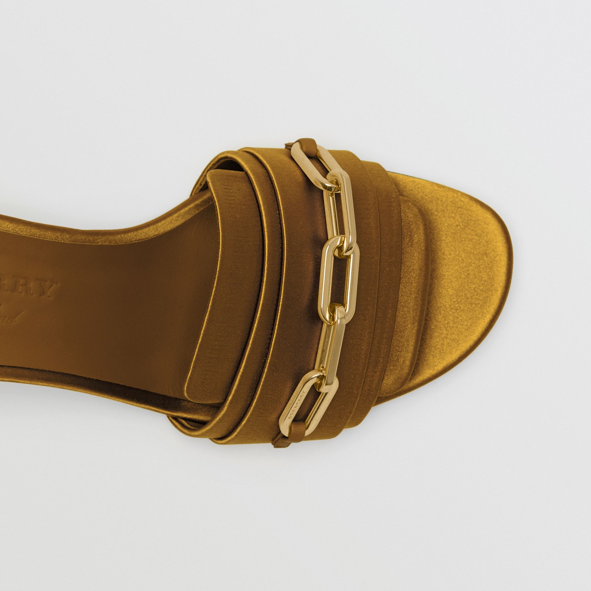 Link Detail Satin Heeled Slides in Antique Yellow - Women | Burberry Canada - gallery image 1